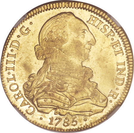 Colombia 1781-P SF 8 escudos - CoinFactsWiki
