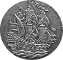 three-masted ship on six-penny pieces of the period