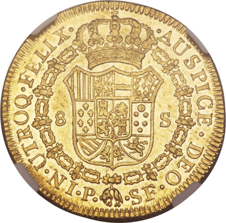 Colombia 1779-P SF 4 escudos - CoinFactsWiki