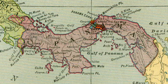Panama in 1942, from Hammond's atlas