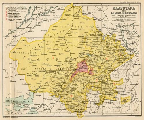 Rajputana in 1907. Alwar is northeast of Jaipur