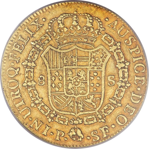Colombia 1781-P SF 2 escudos - CoinFactsWiki
