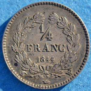 France 1844W quart franc rev DSLR.jpg