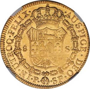 Colombia 1787-P SF 8 escudos - CoinFactsWiki