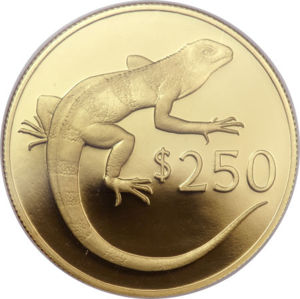 Fijian coin with banded iguana