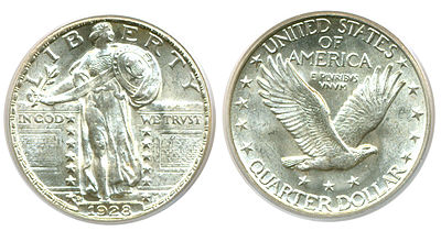 Standing Liberty Quarter Dollar, Stars Below Eagle (1917-1930) FH