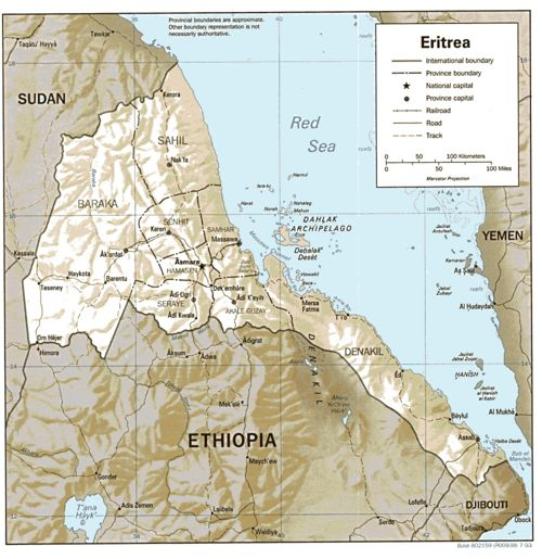 Eritrea present-day, from the Perry Castaneda Library Map Collection