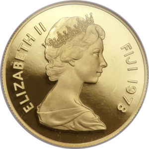 Old Fijian coin with Queen Elizabeth II