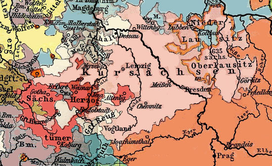 Saxony in 1648. Erfurt is between Gotha and Weimar