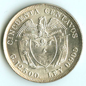 Colombia 1932 B 50 Centavos Coinfactswiki