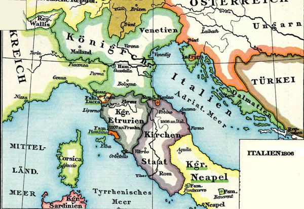 Kingdom of Italy in 1806, from Putzger's Atlas