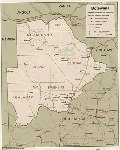 Botswana present-day (Perry-Castaneda Library Map Collection)