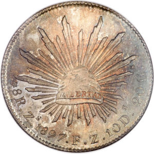 Mexico 1897-Zs FZ 8 reales - CoinFactsWiki