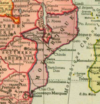 Mozambique in 1942, from Hammond's atlas