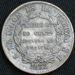Bolivia 1873 Pts Fe 50 Centavos Coinfactswiki