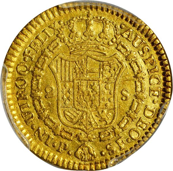 Colombia 1789-P SF 2 escudos - CoinFactsWiki